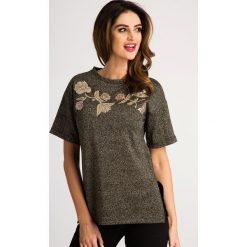 Złoty T-shirt ze Skórzanymi Naszywkami 21047. Żółte t-shirty damskie Fasardi, m, z aplikacjami. Za 39,00 zł.