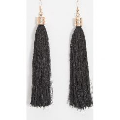 Kolczyki damskie: Długie kolczyki frędzle - Czarny