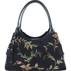 Torebki klasyczne damskie: Skórzana torebka w kolorze granatowym ze wzorem – (S)35 x (W)17 x (G)13 cm