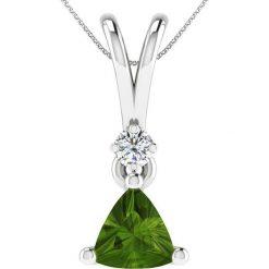 Naszyjniki damskie: Srebrny naszyjnik z zawieszką z diamentem – dł. 40 cm