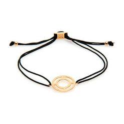 Bransoletki damskie na nogę: Bransoletka w kolorze czarnym z pozłacaną bransoletką