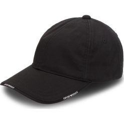 Czapka z daszkiem EMPORIO ARMANI - 627502 8A552 00020 Nero. Szare czapki z daszkiem damskie marki Emporio Armani, l, z nadrukiem, z bawełny, z okrągłym kołnierzem. Za 249,00 zł.