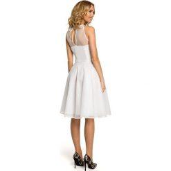 DAISY Wieczorowa sukienka z tiulowym dekoltem - ecru. Szare sukienki koktajlowe Moe, z tiulu, dopasowane. Za 169,00 zł.