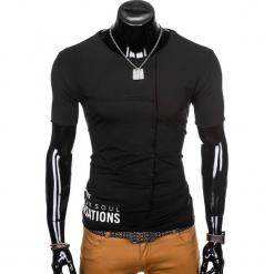 T-SHIRT MĘSKI Z NADRUKIEM S979 - CZARNY. Czarne t-shirty męskie z nadrukiem Ombre Clothing, m. Za 29,00 zł.