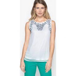 Bluzy rozpinane damskie: Bluza haftowana, bezrękawnik