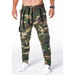 Spodnie męskie: SPODNIE MĘSKIE JOGGERY P716 – MORO