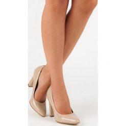 Buty ślubne damskie: FILIPPO beżowe lakierowane czółenka