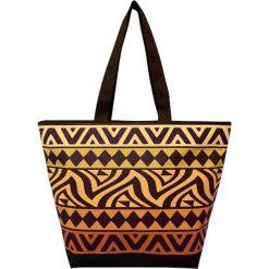 """Torba plażowa """"Ethnique"""" w kolorze czarno-pomarańczowym - 35 x 58 x 23 cm. Brązowe torby plażowe Le Comptoir de la Plage, z tworzywa sztucznego. W wyprzedaży za 38,95 zł."""