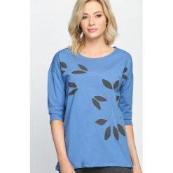 Niebieska Bluzka If I Fell. Szare bluzki na imprezę marki TOMMY HILFIGER, m, z nadrukiem, z bawełny, casualowe, z okrągłym kołnierzem. Za 39,99 zł.
