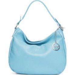 Torebki klasyczne damskie: Skórzana torebka w kolorze błękitnym – 30 x 20 x 8 cm