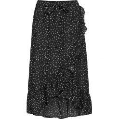 Spódnica kopertowa bonprix czarno-biel wełny w groszki. Czarne minispódniczki marki bonprix, w grochy, z wełny, kopertowe. Za 109,99 zł.