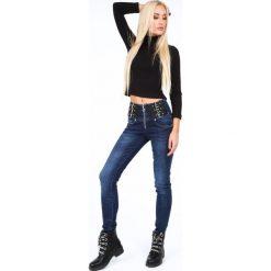 Spodnie jeansowe z podwyższonym stanem niebieskie RR7062. Niebieskie spodnie z wysokim stanem Fasardi, z jeansu. Za 169,00 zł.