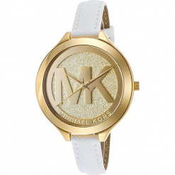 """Zegarek kwarcowy """"Runway"""" w kolorze biało-złotym. Białe, analogowe zegarki damskie marki Michael Kors, ze stali. W wyprzedaży za 522,95 zł."""