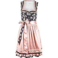 Sukienka ludowa z połyskującym fartuchem bonprix szary łupkowy z nadrukiem. Szare sukienki z falbanami bonprix, z nadrukiem. Za 319,99 zł.