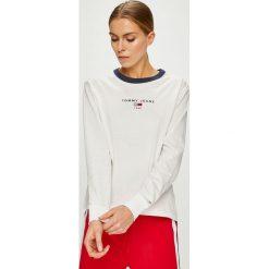 Tommy Jeans - Bluzka. Szare bluzki asymetryczne Tommy Jeans, l, z bawełny, casualowe, z okrągłym kołnierzem. Za 179,90 zł.