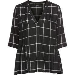 Bluzka tunikowa w kratę bonprix czarno-biel wełny w kratę. Szare bluzki z odkrytymi ramionami marki Moe, l. Za 99,99 zł.