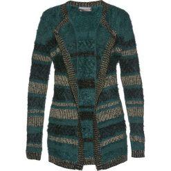 Swetry damskie: Kardigan z metaliczną nitką i puszystą przędzą bonprix głęboki zielony – złoty