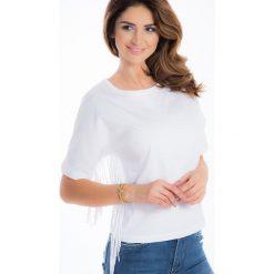 Biały t-shirt z frędzlami BB20223. Białe t-shirty damskie Fasardi, l. Za 39,00 zł.