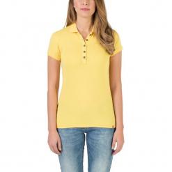"""Koszulka polo """"Basic"""" w kolorze żółtym. Żółte bluzki damskie marki Mohito, l, z dzianiny. W wyprzedaży za 68,95 zł."""