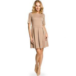 Sukienki: Cappuccino Szeroka Sukienka z Rękawem do Łokcia