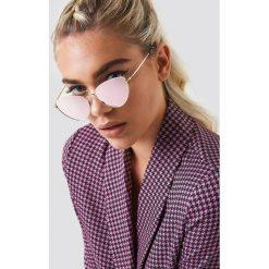 Okulary przeciwsłoneczne damskie aviatory: NA-KD Accessories Okulary przeciwsłoneczne Cat Eye – Pink,Gold