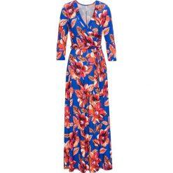 Sukienka z paskiem bonprix niebiesko-jasnoróżowy. Niebieskie sukienki z falbanami bonprix. Za 149,99 zł.