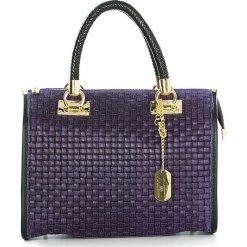 Torebki klasyczne damskie: Skórzana torebka w kolorze fioletowym – 30 x 26 x 17 cm