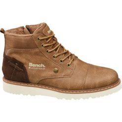 Kozaki męskie Bench brązowe. Brązowe buty zimowe męskie Bench, z gumy, na sznurówki. Za 199,90 zł.