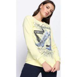 Jasnożółta Bluza Like an Angel. Szare bluzy damskie Born2be, l, z nadrukiem, z dresówki. Za 34,99 zł.