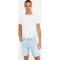 Spodenki i szorty męskie: Wybielane bermudy jeansowe slim fit z dziurami
