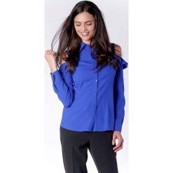 Nietuzinkowa Kobaltowa Koszula z Odkrytymi Ramionami i Falbanką. Niebieskie koszule damskie marki Molly.pl, l, z falbankami, z długim rękawem. W wyprzedaży za 139,41 zł.