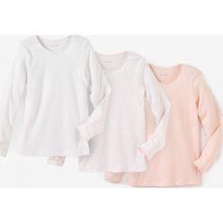 Koszulka z długim rękawem 2-12 lat (komplet 3 szt.). Białe t-shirty dziewczęce marki Reserved, l. Za 58,76 zł.