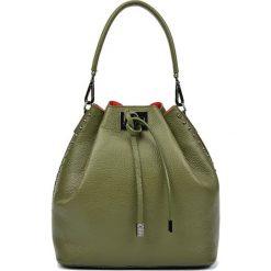 Torebki klasyczne damskie: Skórzana torebka w kolorze zielonym – (S)30,5 x (W)42 x (G)16 cm