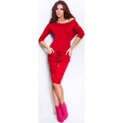Czerwona Sukienka Ściągana. Czerwone sukienki na komunię marki Molly.pl, na co dzień, l, z tkaniny, z dekoltem w łódkę, oversize. Za 99,90 zł.