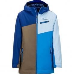 """Kurtka narciarska """"Tunder Jacket"""" w kolorze oliwkowo-błękitno-niebieskim. Brązowe kurtki chłopięce marki Marmot Kids, z materiału. W wyprzedaży za 302,95 zł."""