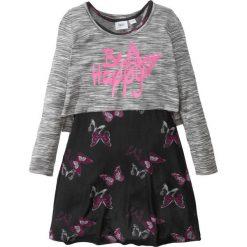 Sukienki dziewczęce: Sukienka + shirt warstwowy (2 części) bonprix czarno-biały z nadrukiem