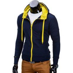 BLUZA MĘSKA ROZPINANA Z KAPTUREM B485 - GRANATOWA/ŻÓŁTA. Czarne bluzy męskie rozpinane marki Ombre Clothing, m, z bawełny, z kapturem. Za 39,00 zł.