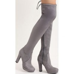 Szare Kozaki Pretty Hurts. Szare buty zimowe damskie marki Born2be, na wysokim obcasie, na słupku. Za 129,99 zł.