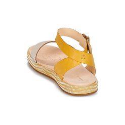 Sandały Clarks  BOTANIC IVY. Żółte sandały damskie marki Kazar, ze skóry, na wysokim obcasie, na obcasie. Za 319,20 zł.