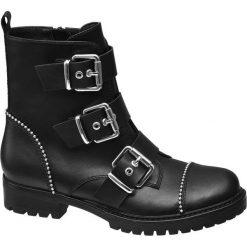 Botki damskie Catwalk czarne. Czarne botki damskie na obcasie Catwalk, z materiału, na klamry. Za 159,90 zł.
