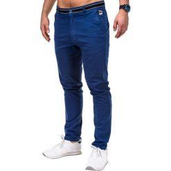 SPODNIE MĘSKIE CHINO P156 - GRANATOWE. Niebieskie chinosy męskie Ombre Clothing, z aplikacjami, z bawełny. Za 59,00 zł.