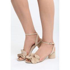 Beżowe Sandały Fly With Me. Brązowe sandały damskie na słupku marki Born2be, z materiału, na wysokim obcasie. Za 69,99 zł.
