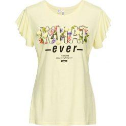 Bluzki, topy, tuniki: T-shirt z pomponami bonprix cytrynowy sorbetowy