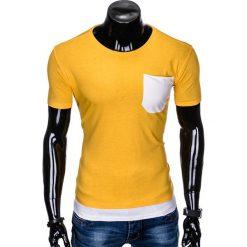 T-SHIRT MĘSKI BEZ NADRUKU S963 - ŻÓŁTY. Żółte t-shirty męskie z nadrukiem marki Ombre Clothing, m. Za 29,00 zł.