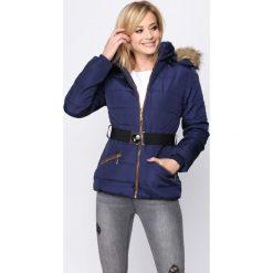 Granatowa Kurtka Rake Yourself. Brązowe kurtki damskie pikowane marki Born2be, na zimę, l, w paski. Za 134,99 zł.