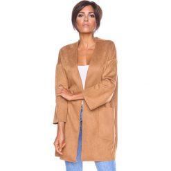 Swetry damskie: Kardigan w kolorze jasnobrązowym