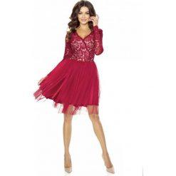 Bordowa Sukienka Koronkowa z TiulowąSpódnicą. Czerwone sukienki balowe marki Molly.pl, na imprezę, l, w koronkowe wzory, z koronki, z dekoltem na plecach. Za 278,90 zł.