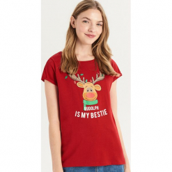 T-shirt z Rudolfem - Czerwony. Czerwone t-shirty damskie marki Sinsay, l. Za 24,99 zł.