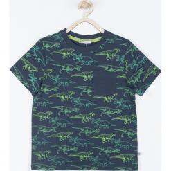 Koszulka. Niebieskie t-shirty chłopięce z długim rękawem DINOSAUR, z aplikacjami, z bawełny. Za 39,90 zł.