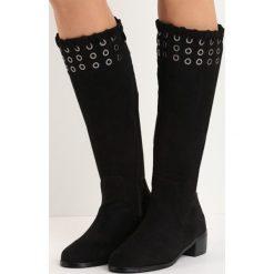 Czarne Kozaki Touch Starvation. Czarne buty zimowe damskie marki Kazar, ze skóry, na wysokim obcasie. Za 139,99 zł.